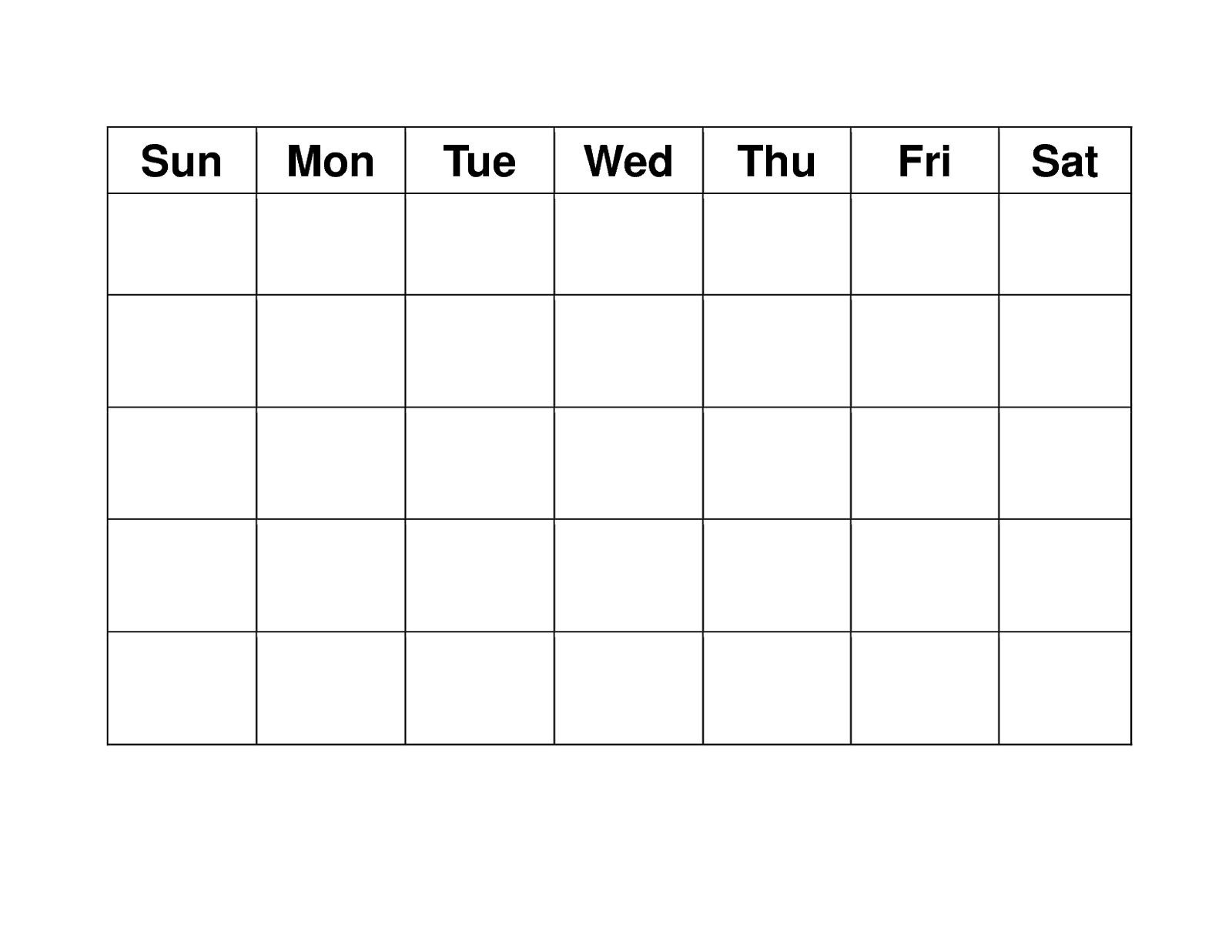 Blank Weekly Calendars Printable   Printable Blank Calendar