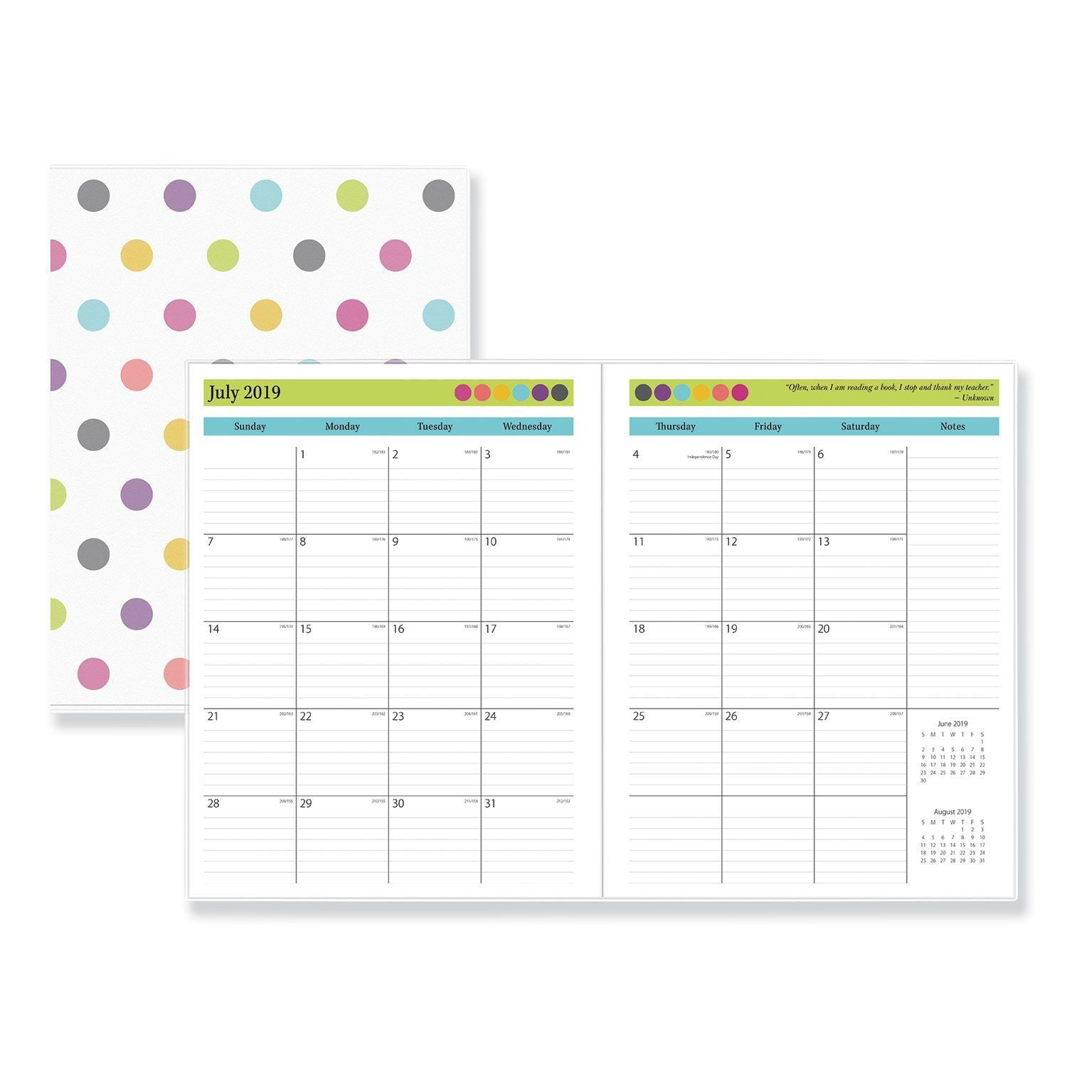 Blue 2019 2020 Monthly Planner Calendar In Protective Sleeve
