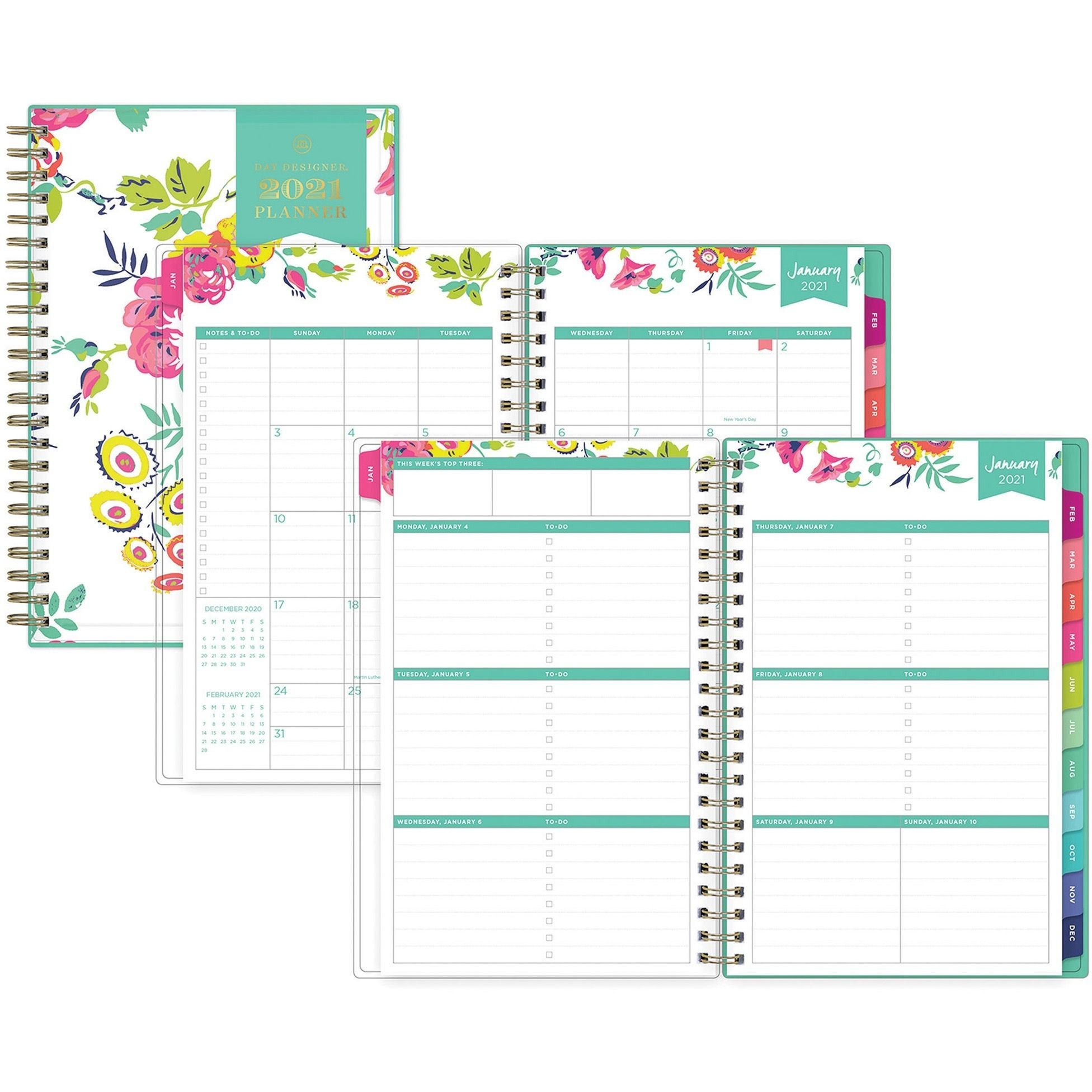 "Blue Sky Day Designer Weekly/monthly Planner Julian Dates Weekly, Monthly 1 Year January 2021 Till December 2021 5"" X 8"" Sheet Size Floral"