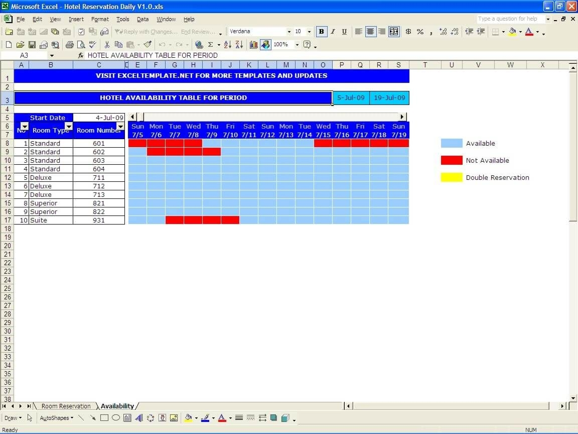 Booking And Reservation Calendar » The Spreadsheet Page