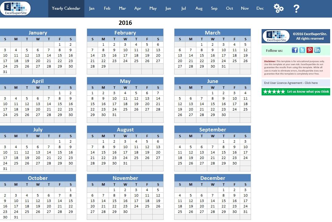 calendar 12 month plus individual months | excelsupersite
