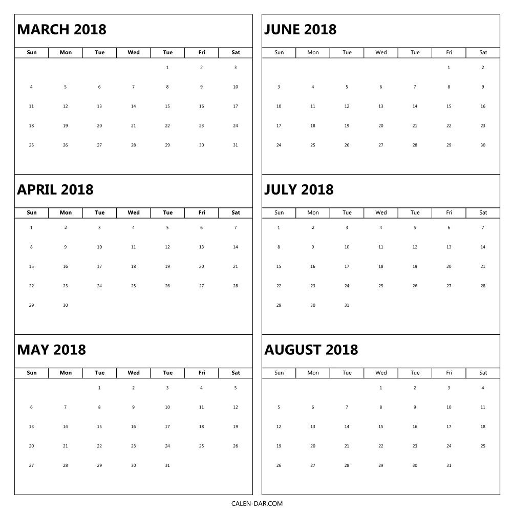 Calendar 2018 March To August Printable | 6 Month Pdf Template