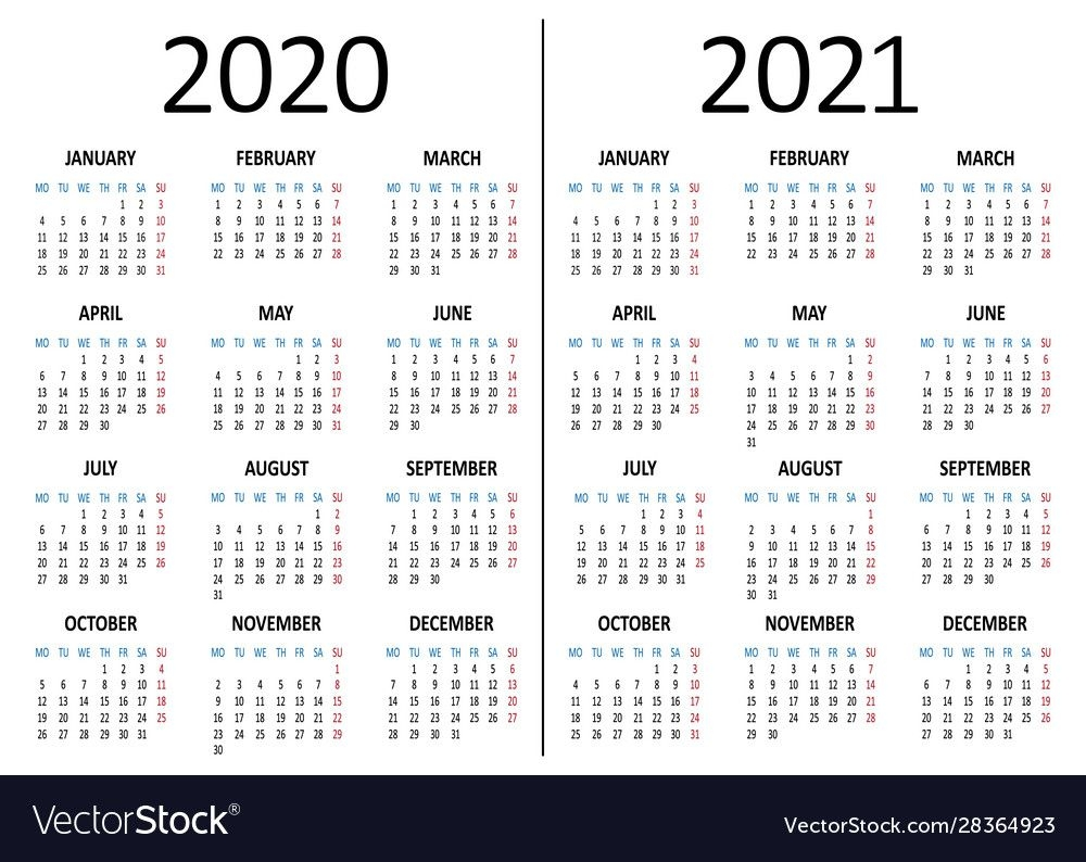 calendar 2020 2021 week starts from monday