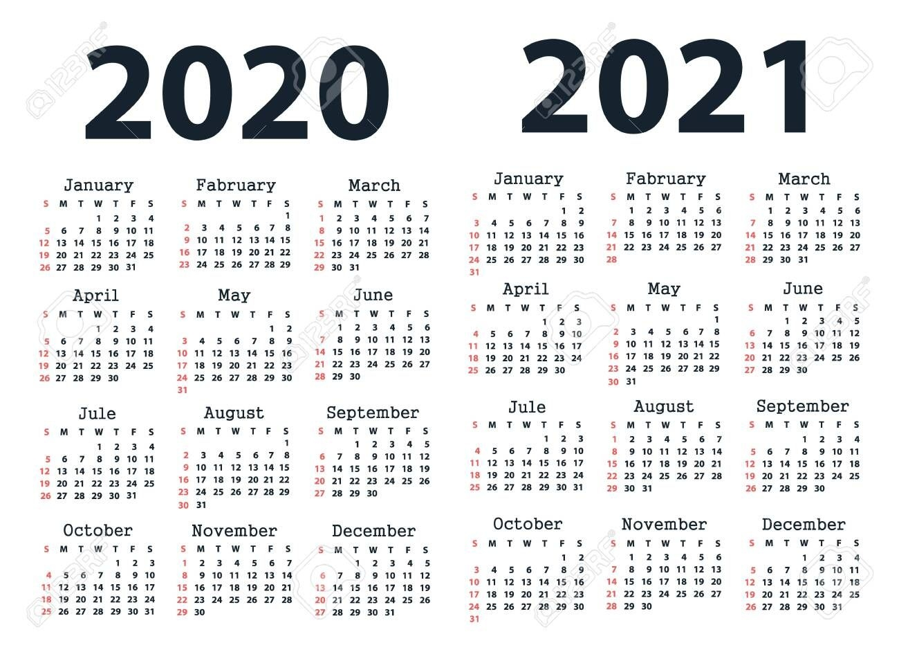 Calendar 2020 And Calendar 2021 Starting From Sunday Vector