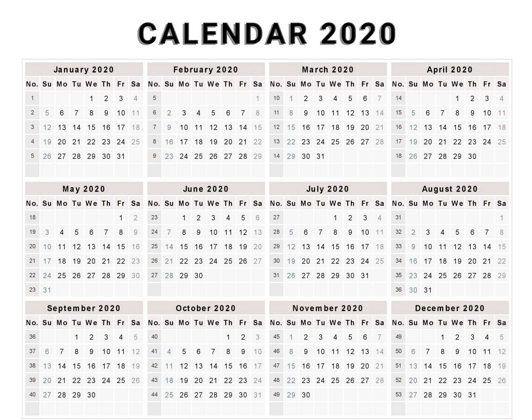 Calendar 2020 Free Template With Weeks | Calendar Template