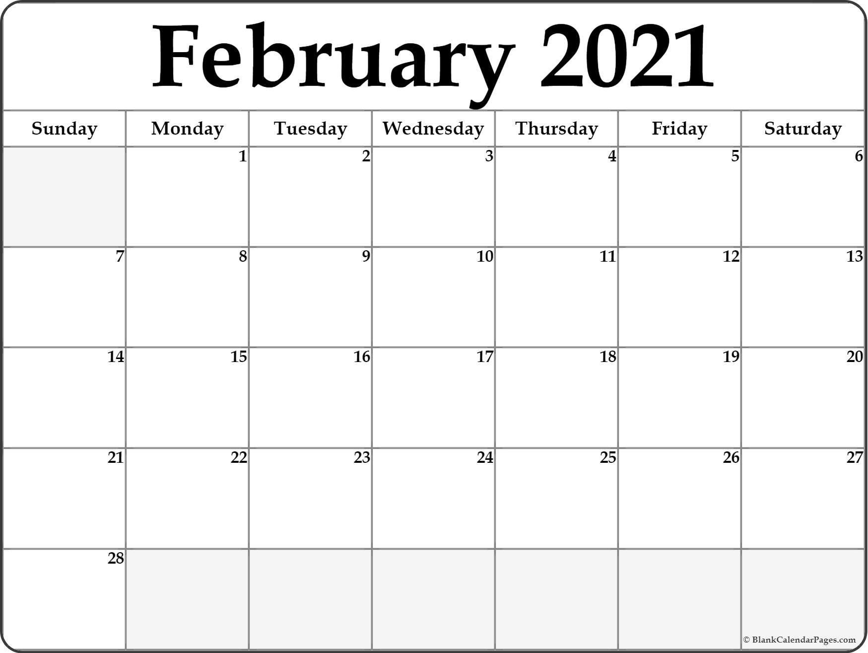 Printable Blank Monthly Calendar Template 2021 - Example ...