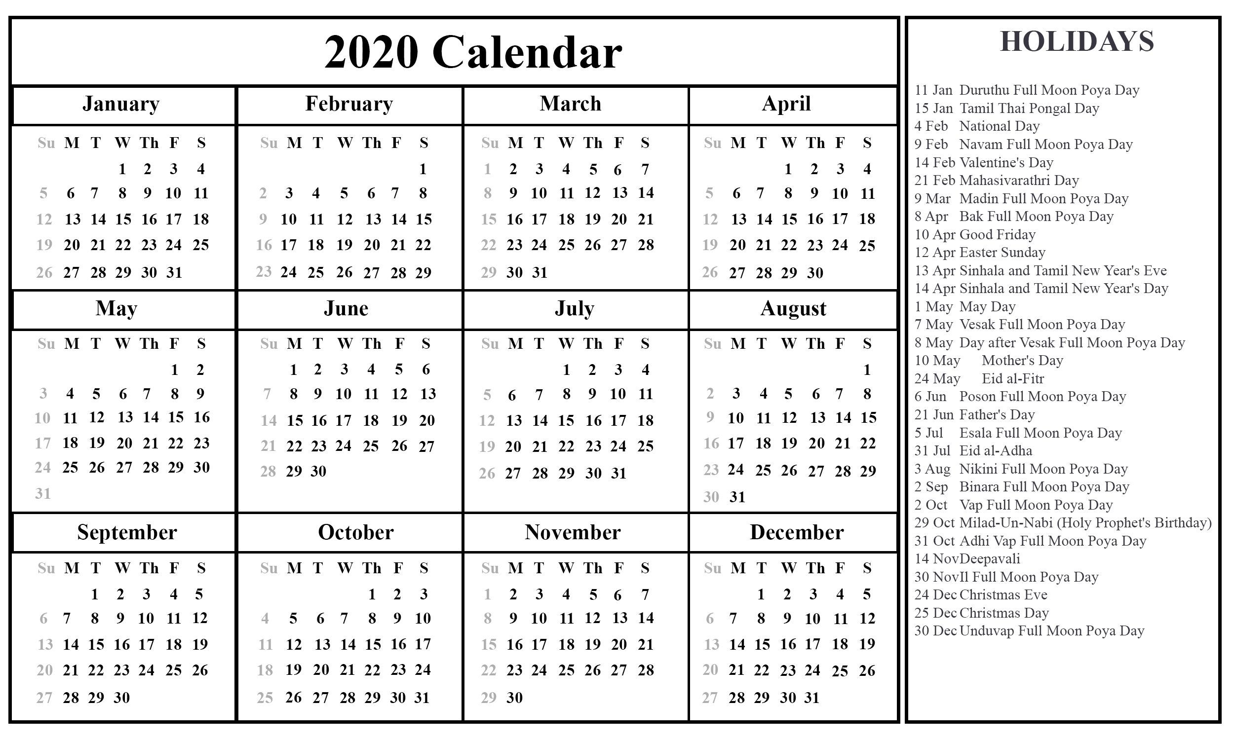 Calendar 2021 Sri Lanka Holidays In 2020 | Printable