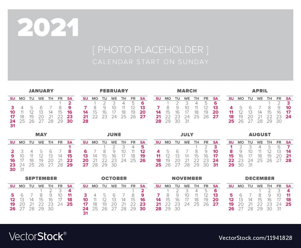 Calendar 2021 Year Design Template