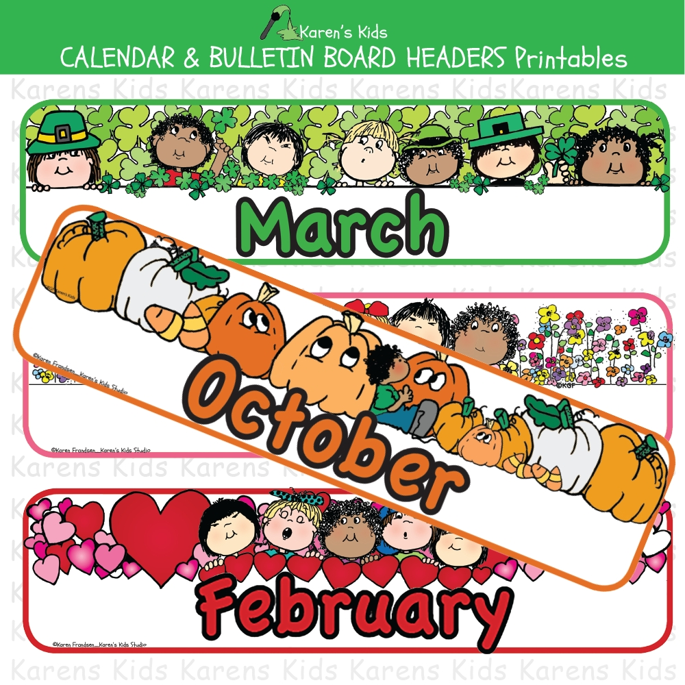 calendar and bulletin board monthly headers clipart and
