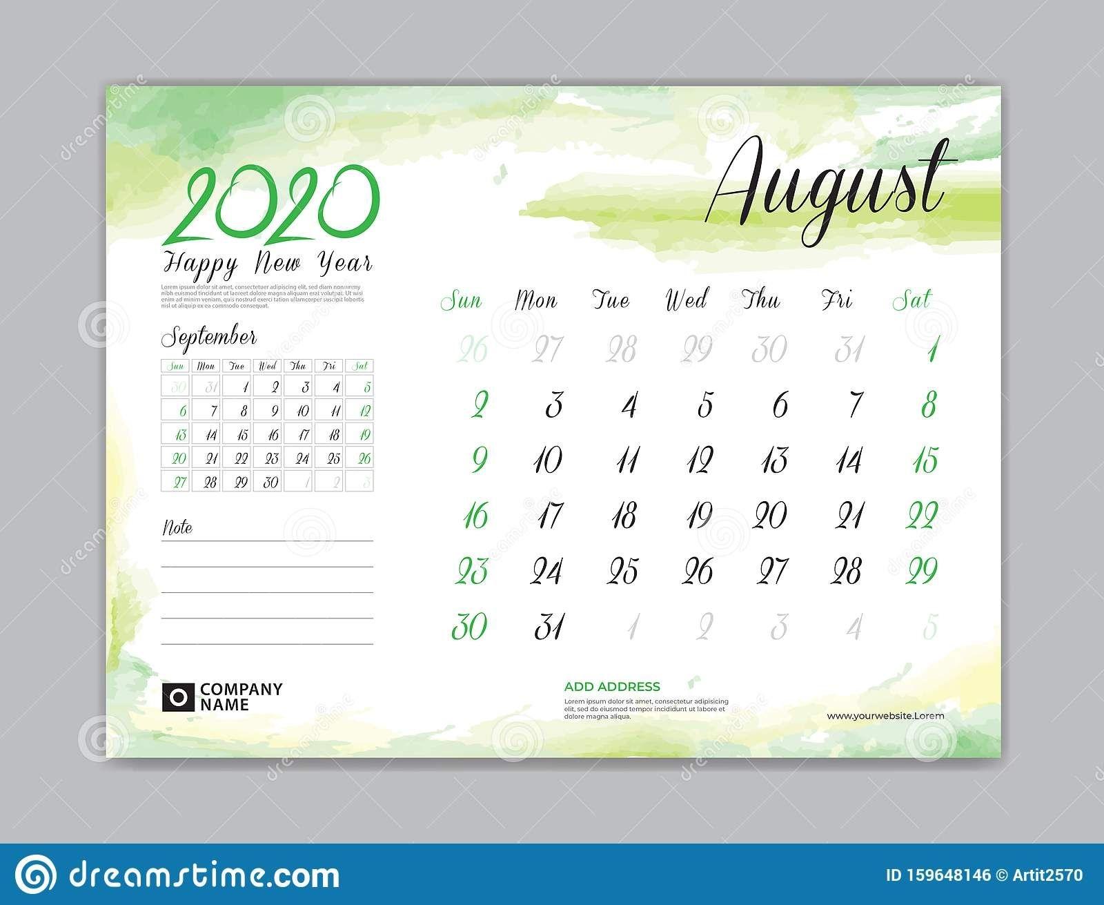 calendar for 2020 year template, august month, desk calendar