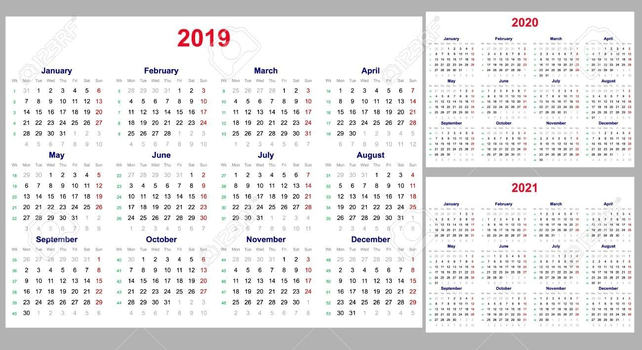 calendar grid for 2019, 2020 and 2021 years set the week starts