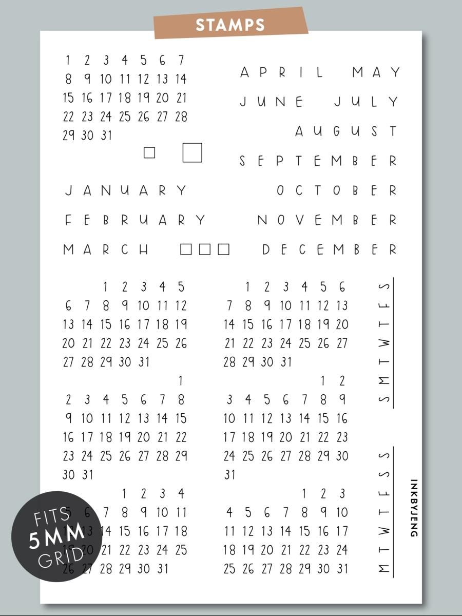calendar handwritten 4x6 | clear stamps, stamp, dot grid