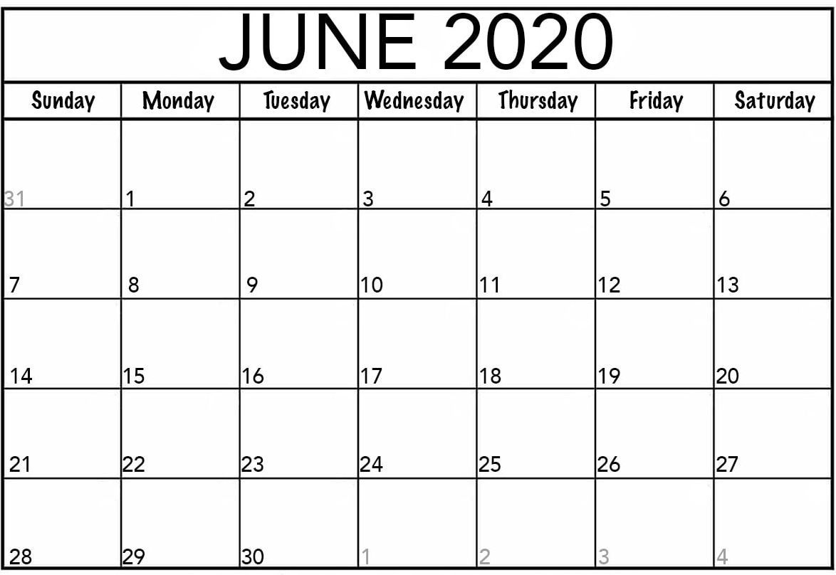 Calendar June 2020 Printable Template Word Web Galaxy