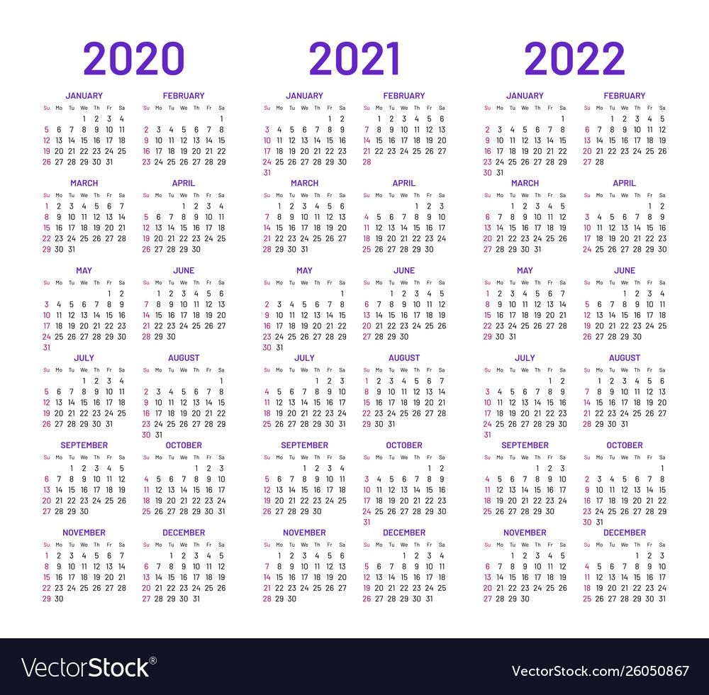 calendar layouts for 2020 2021 2022 years