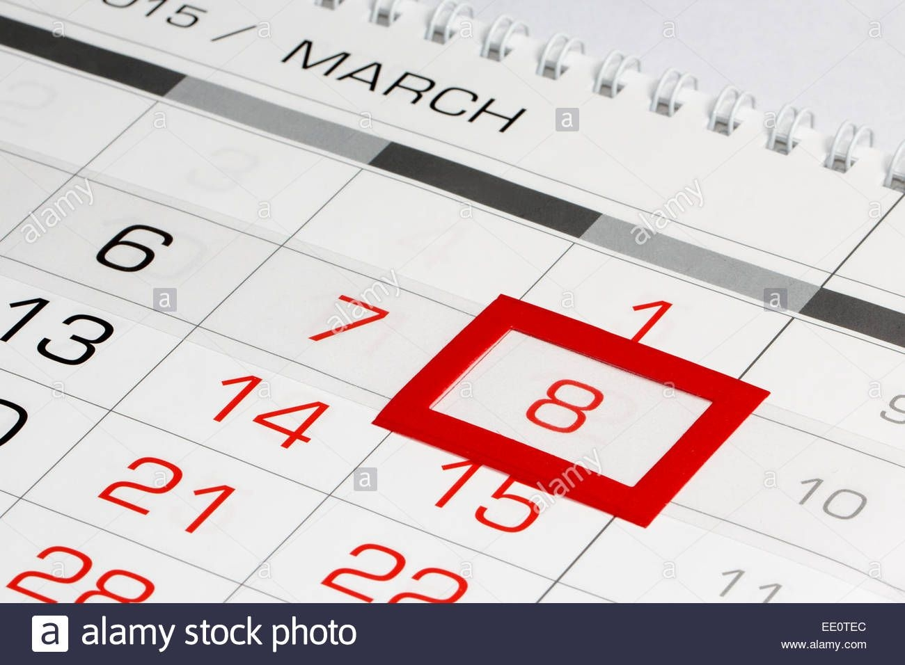 calendar page with marked date 8 of march stock photo alamy