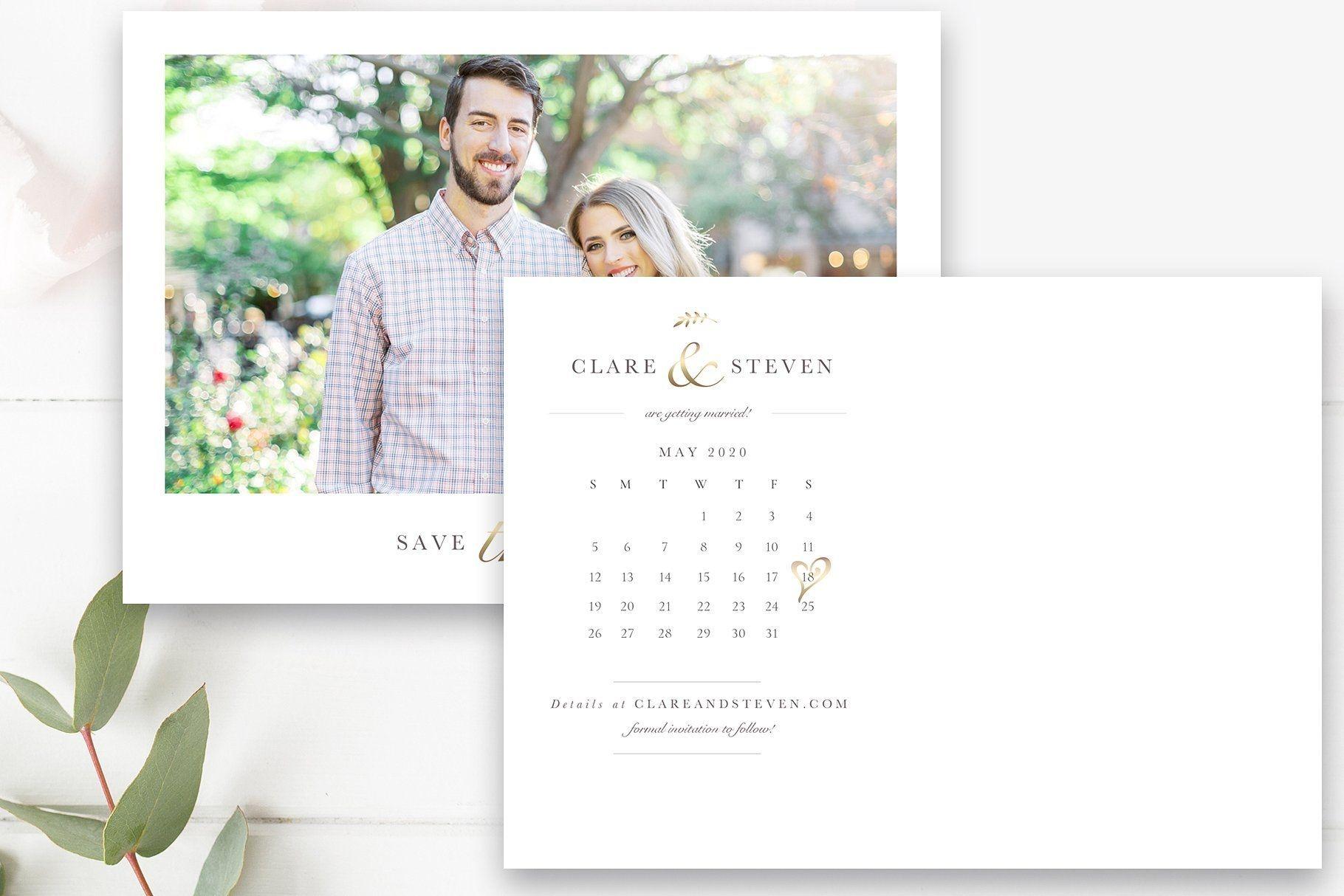 calendar save the date postcard template, 5x7 & 4x6