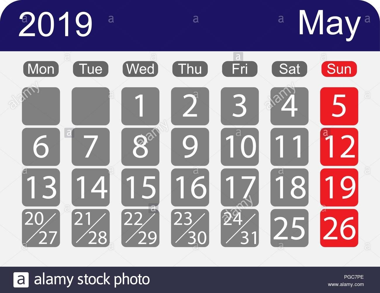 calendar sheet 2019 for the month of may, a week with one