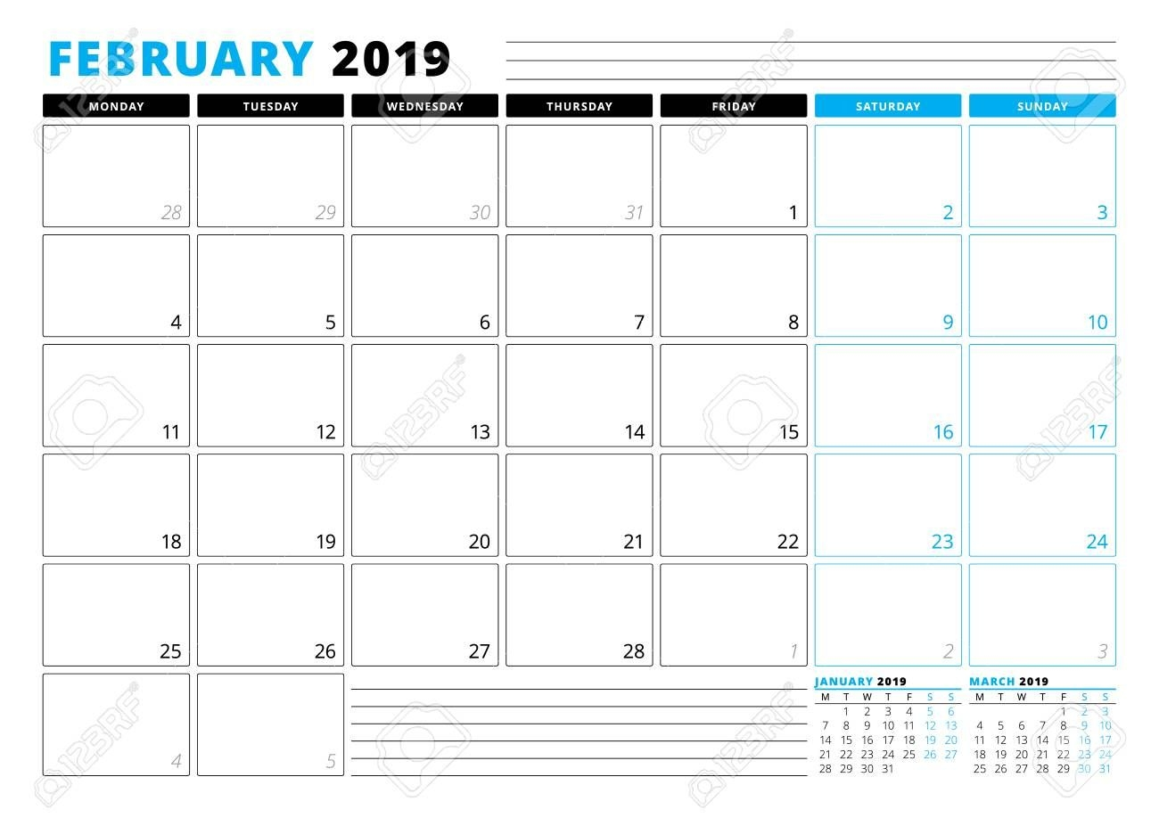 calendar template for february 2019 business planner template