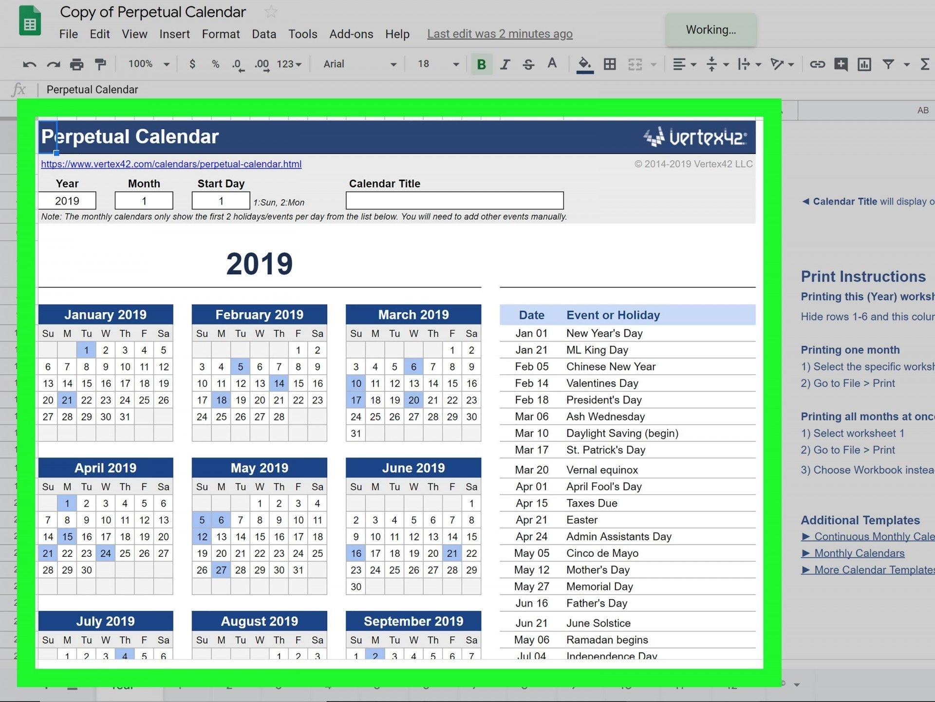 calendar template google docs addictionary