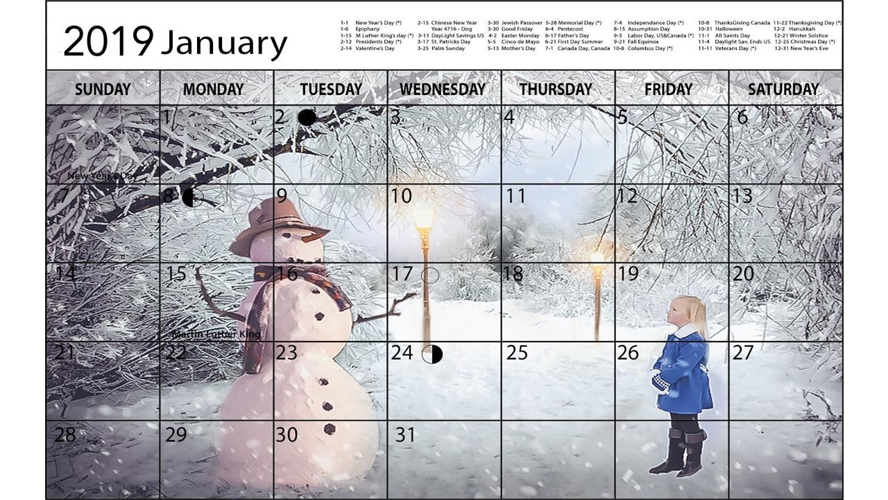 Calendar Templates 2019 For Photoshop