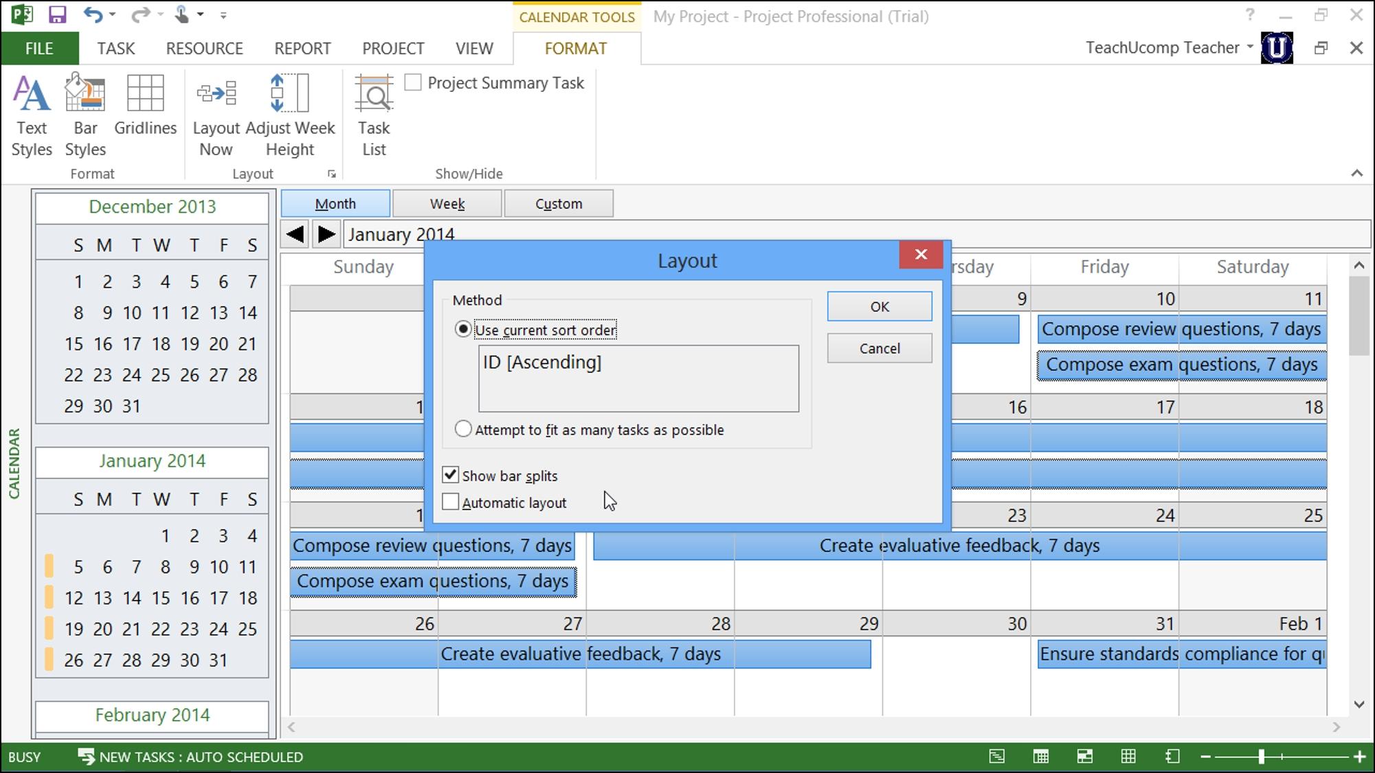 Calendar View In Microsoft Project Tutorial