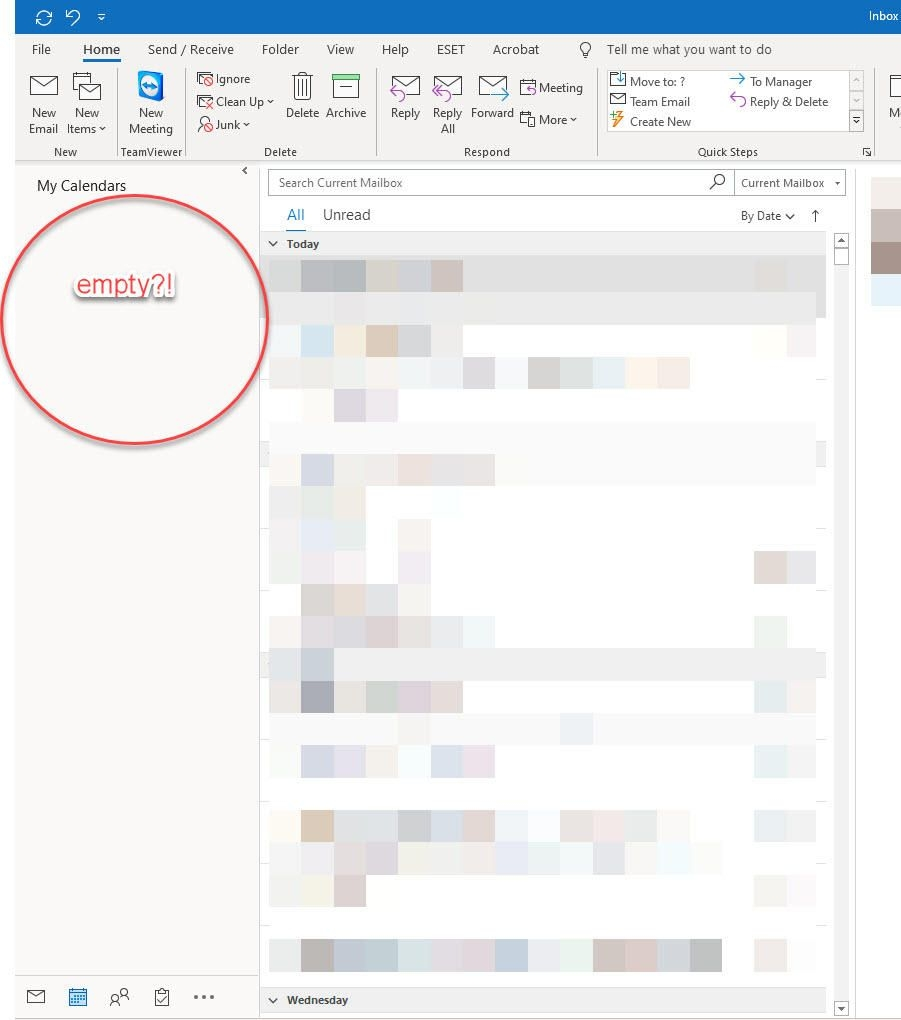 calendars in outlook (office 365) have disappeared help