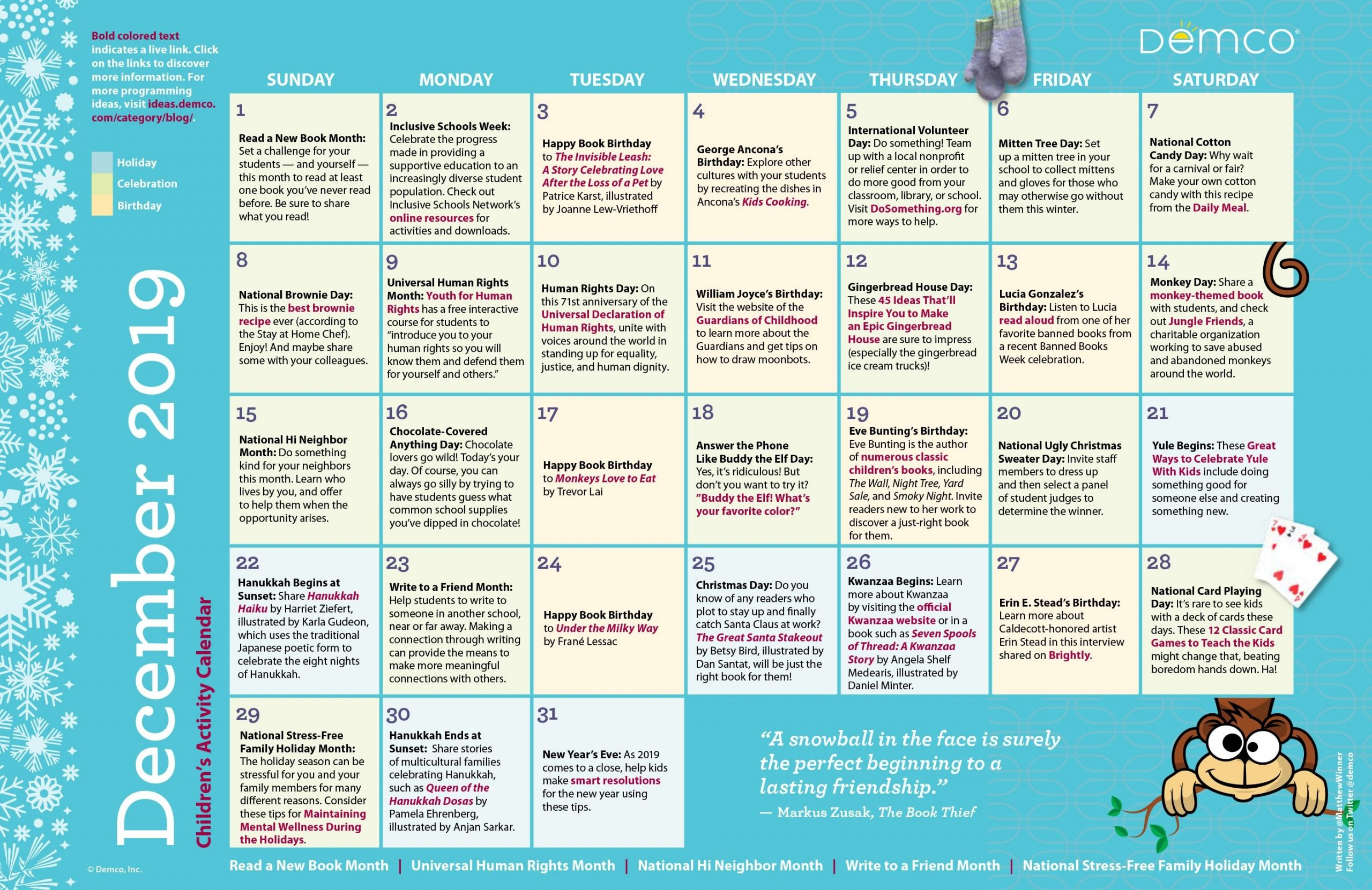 children's programming activity calendar: december 2019