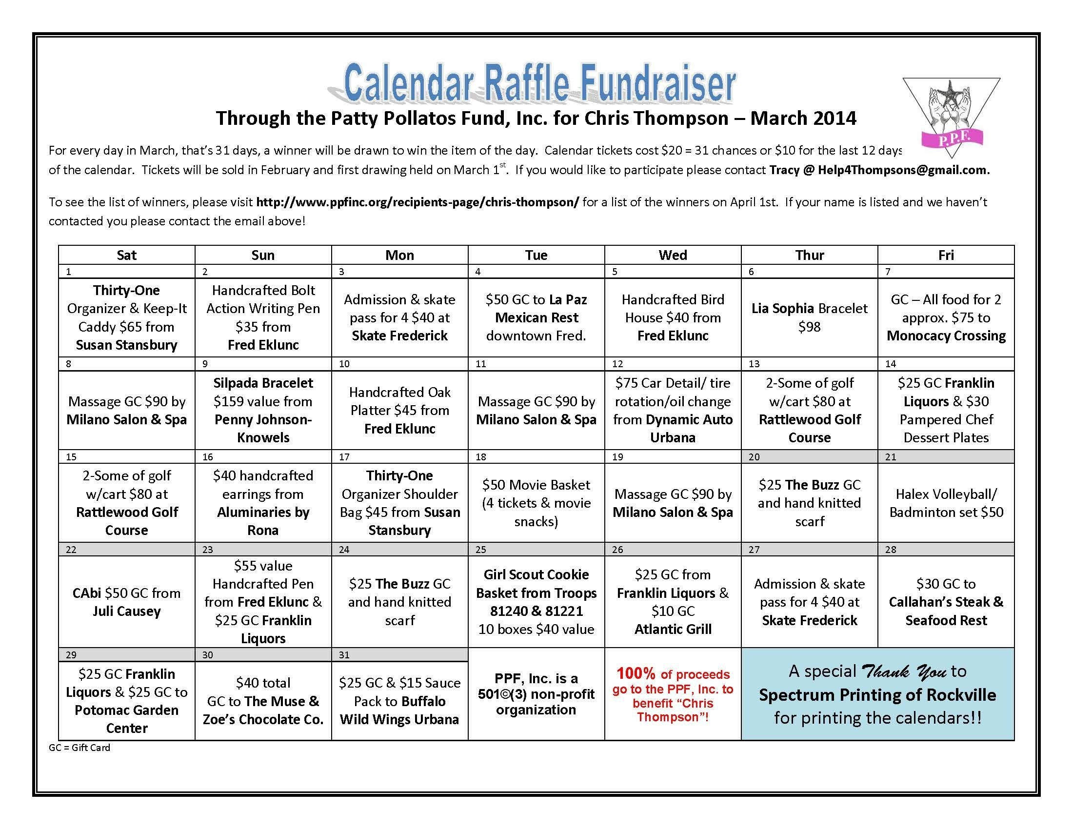 chris thompson calendar raffle patty pollatos fund
