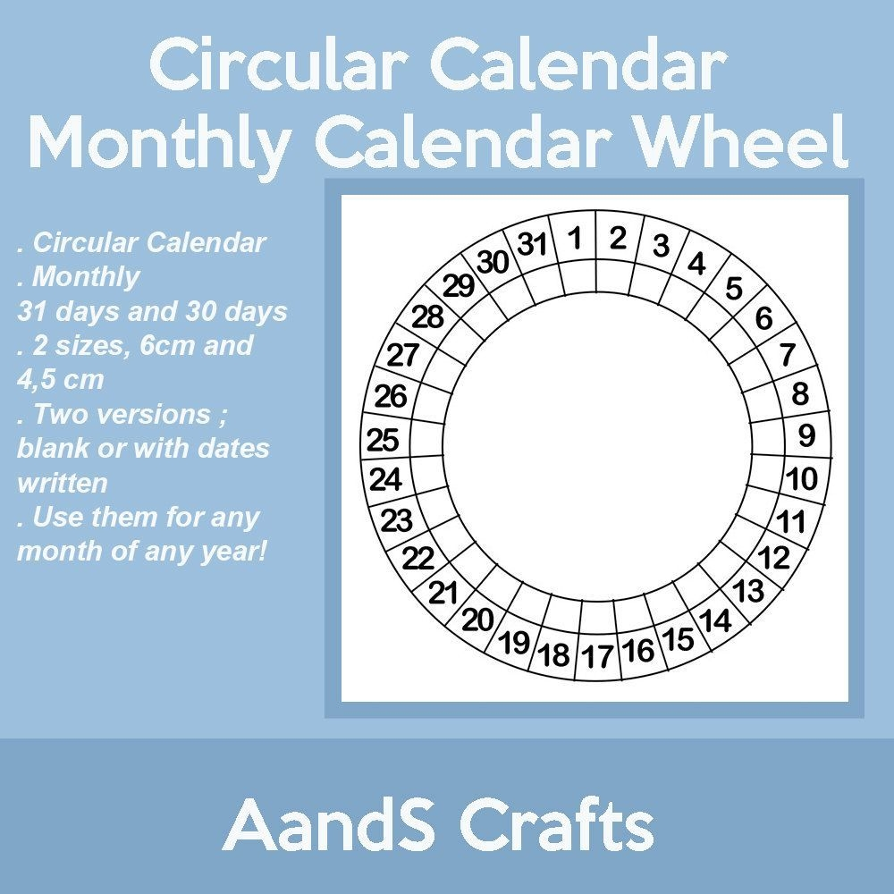 circular calendar calendar wheel blank size 6cm and 45