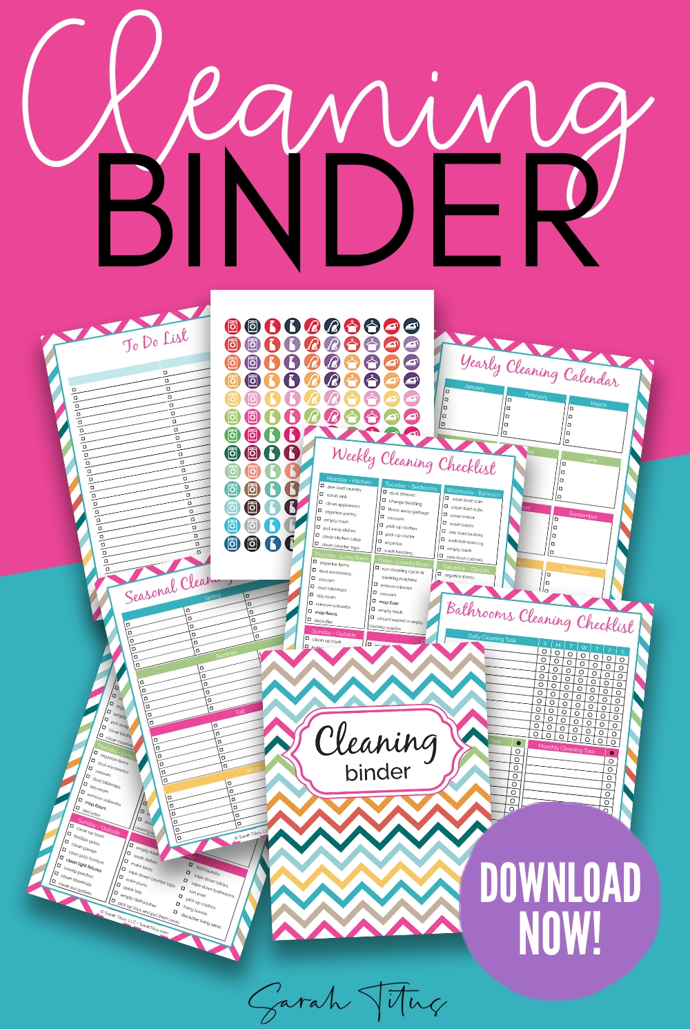 Cleaning Binder Printables Sarah Titus | From Homeless To