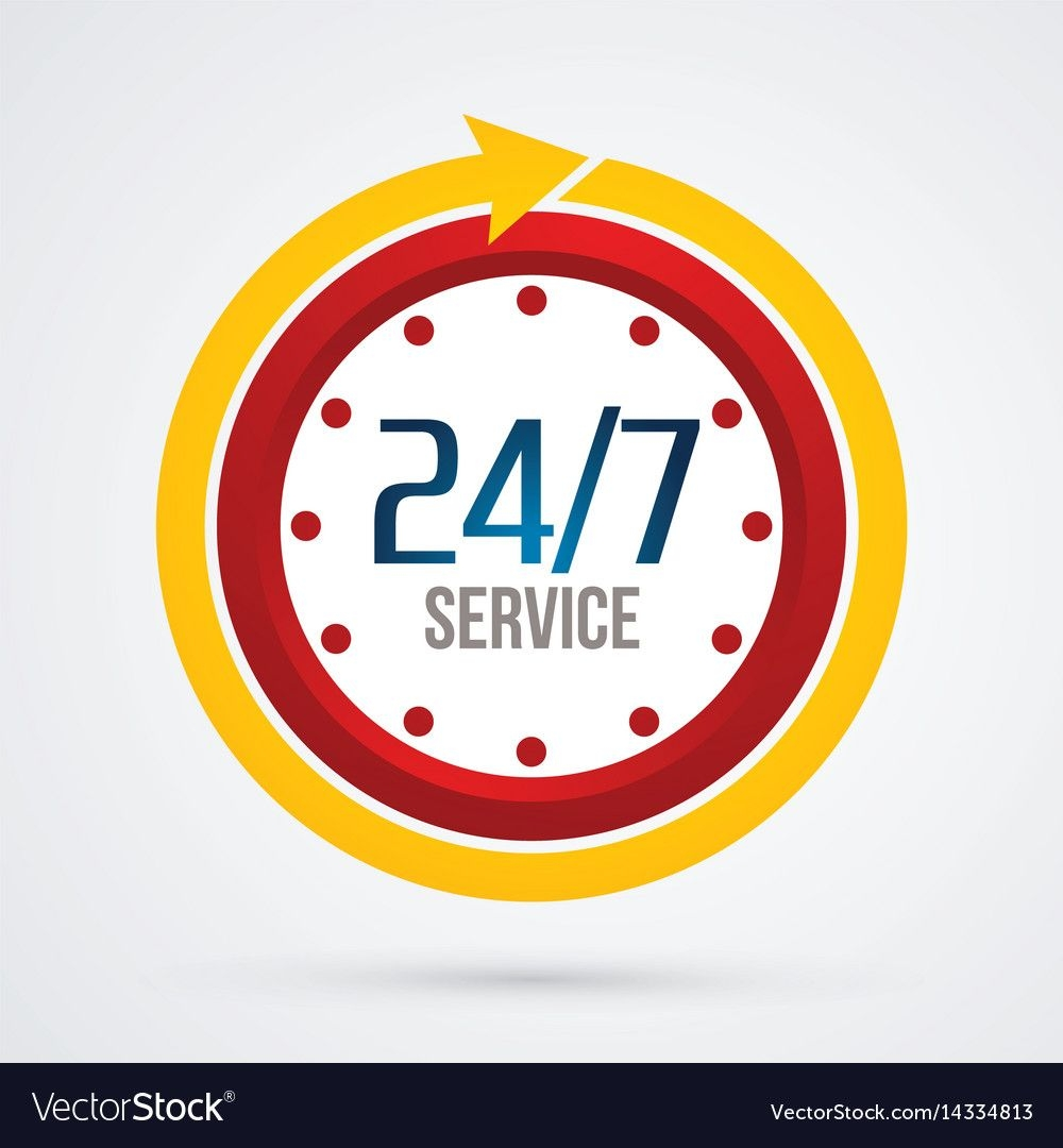 clock 24 hours a day and 7 days service