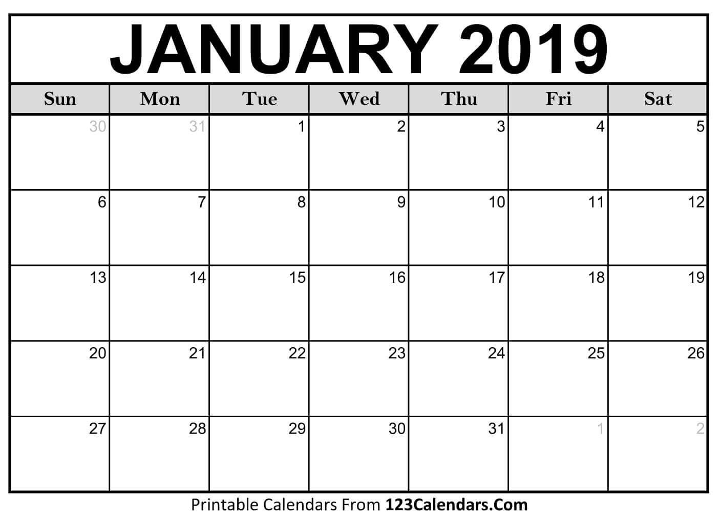 Collect Blank Printable Calendar 2019 M F | Calendar