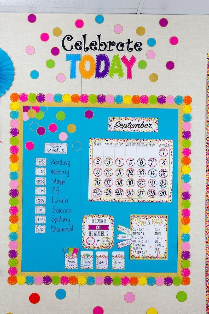confetti calendar bulletin board display | classroom