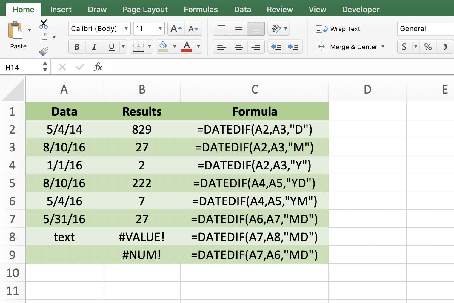 count days, months, years with datedif function in excel