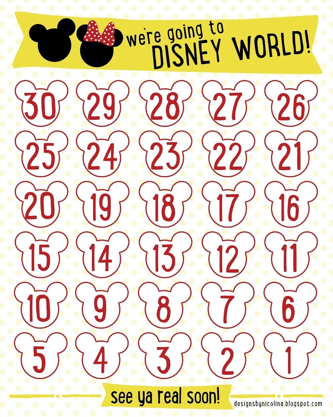 "Countdown Calendars Printable Search Results For ""disney"