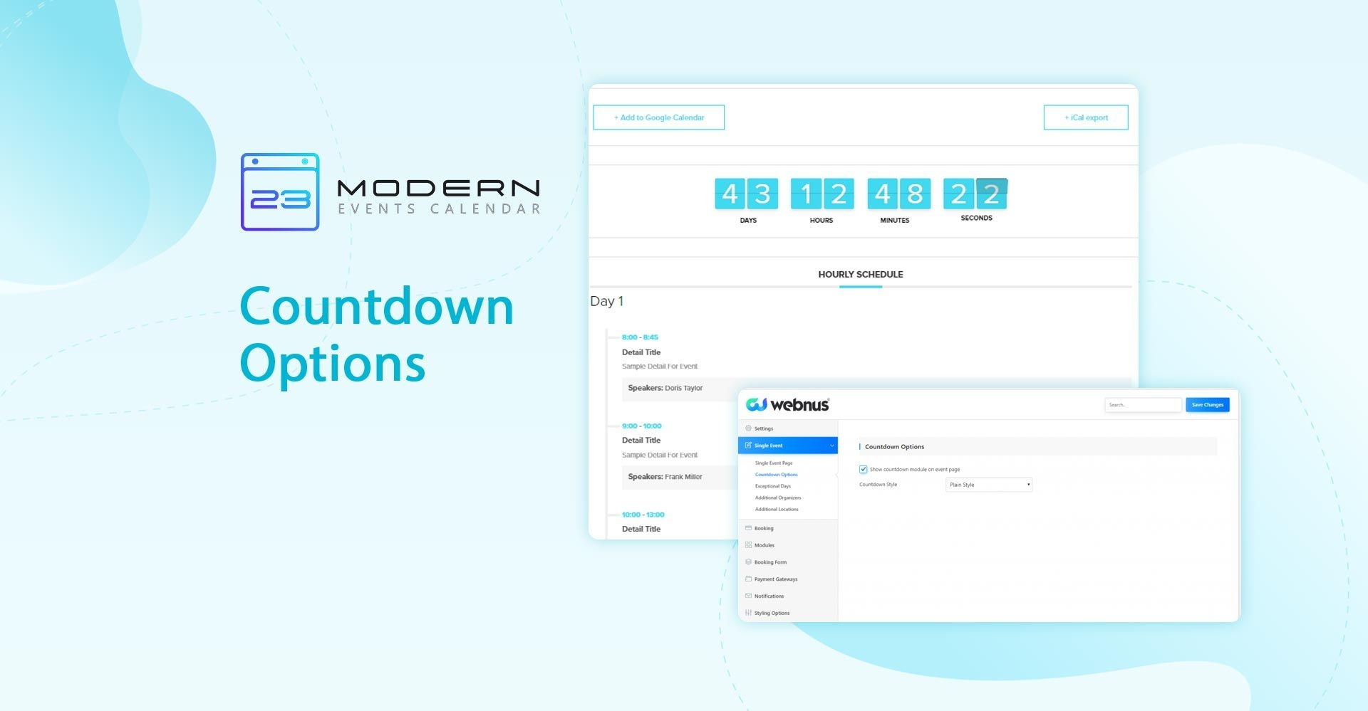 countdown options modern events calendar