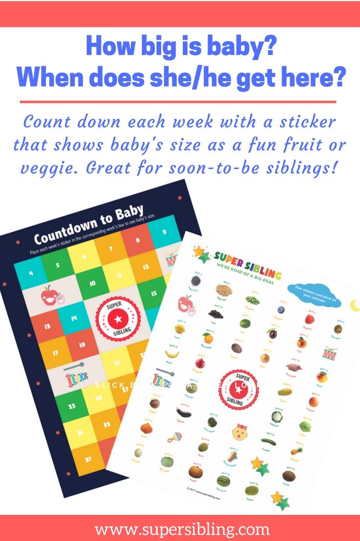 Countdown To Baby Calendar Super Sibling | Baby Calendar