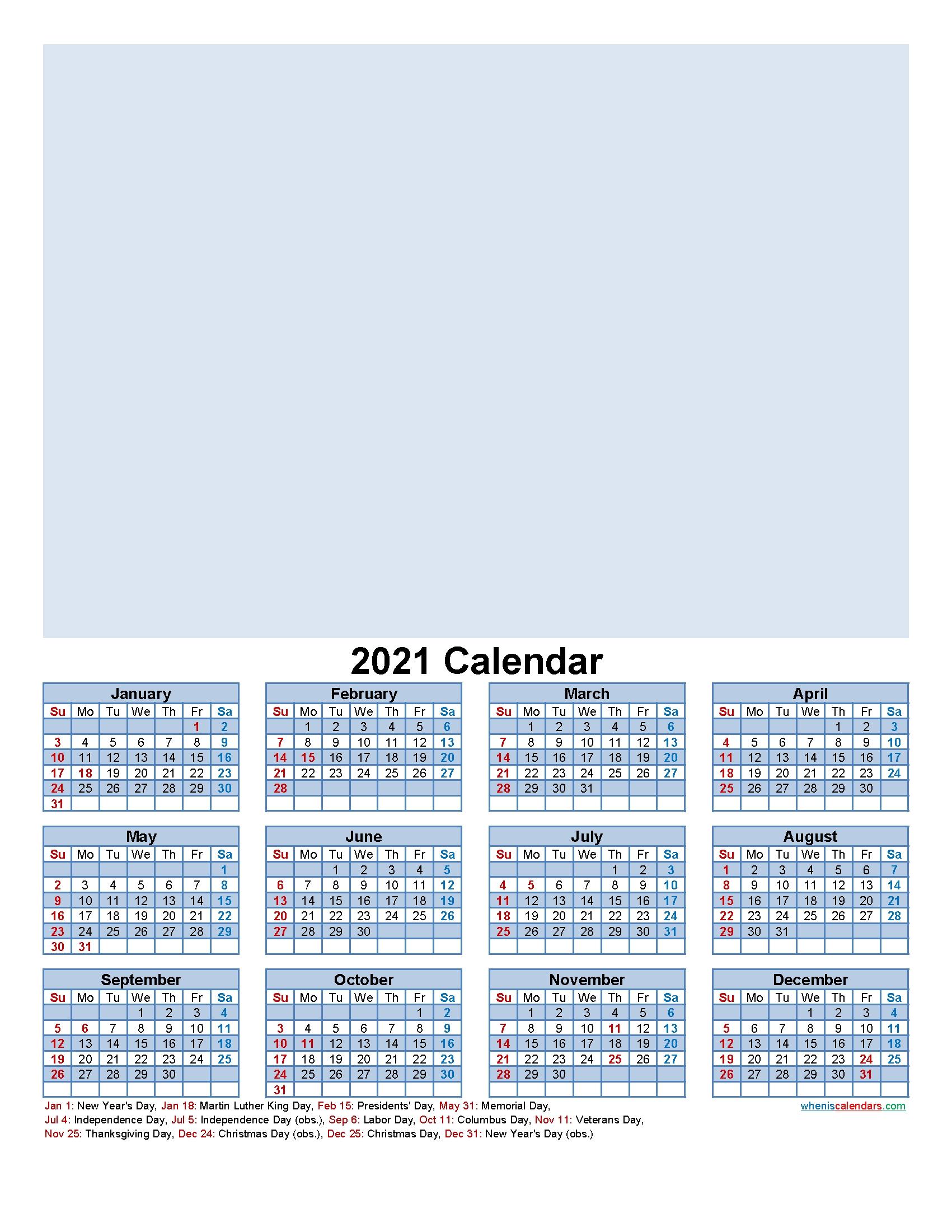 Custom Photo Calendar 2021 Word, Pdf – Template No F21y30