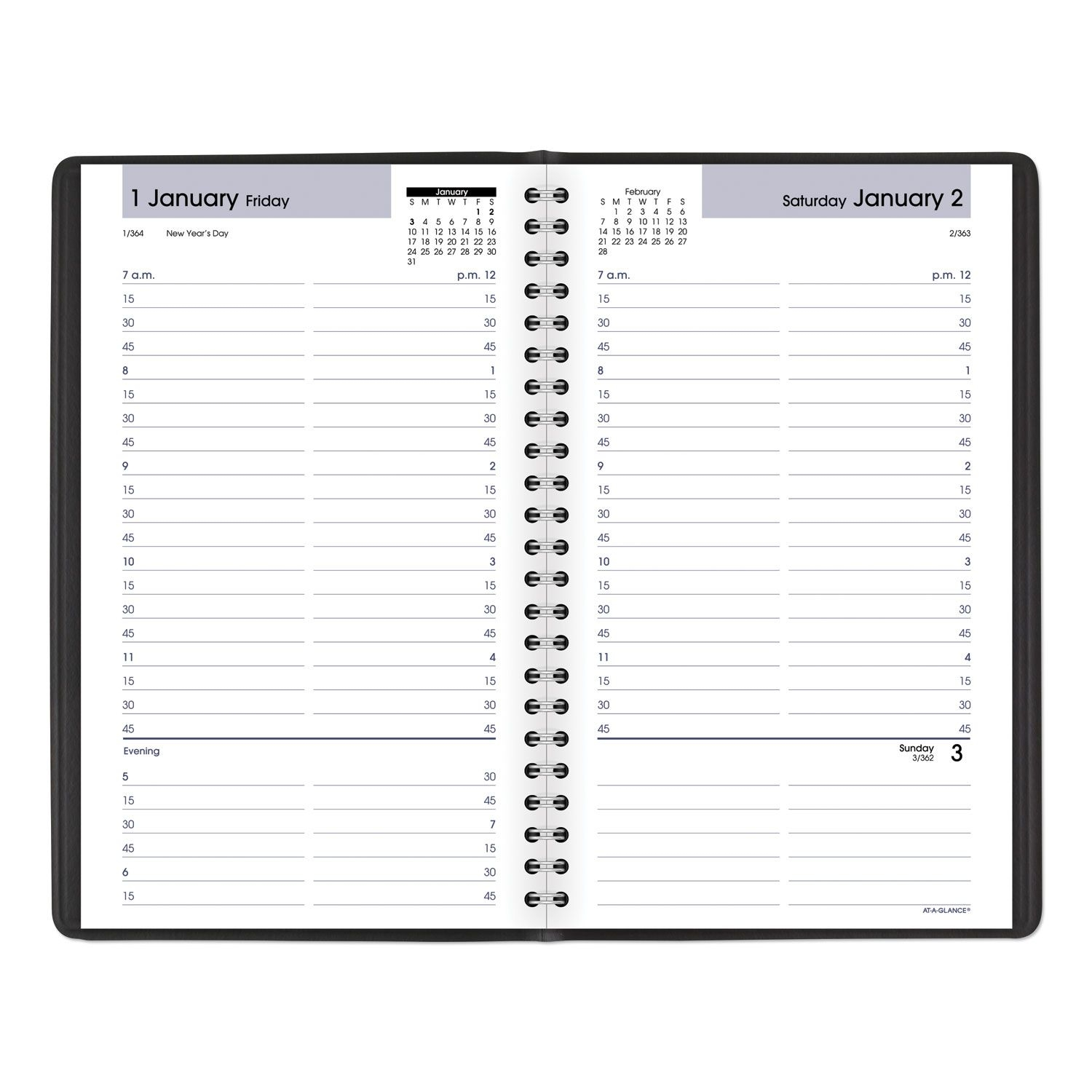 daily appointment book with15 minute appointments, 8 x 4 7/8, black, 2020
