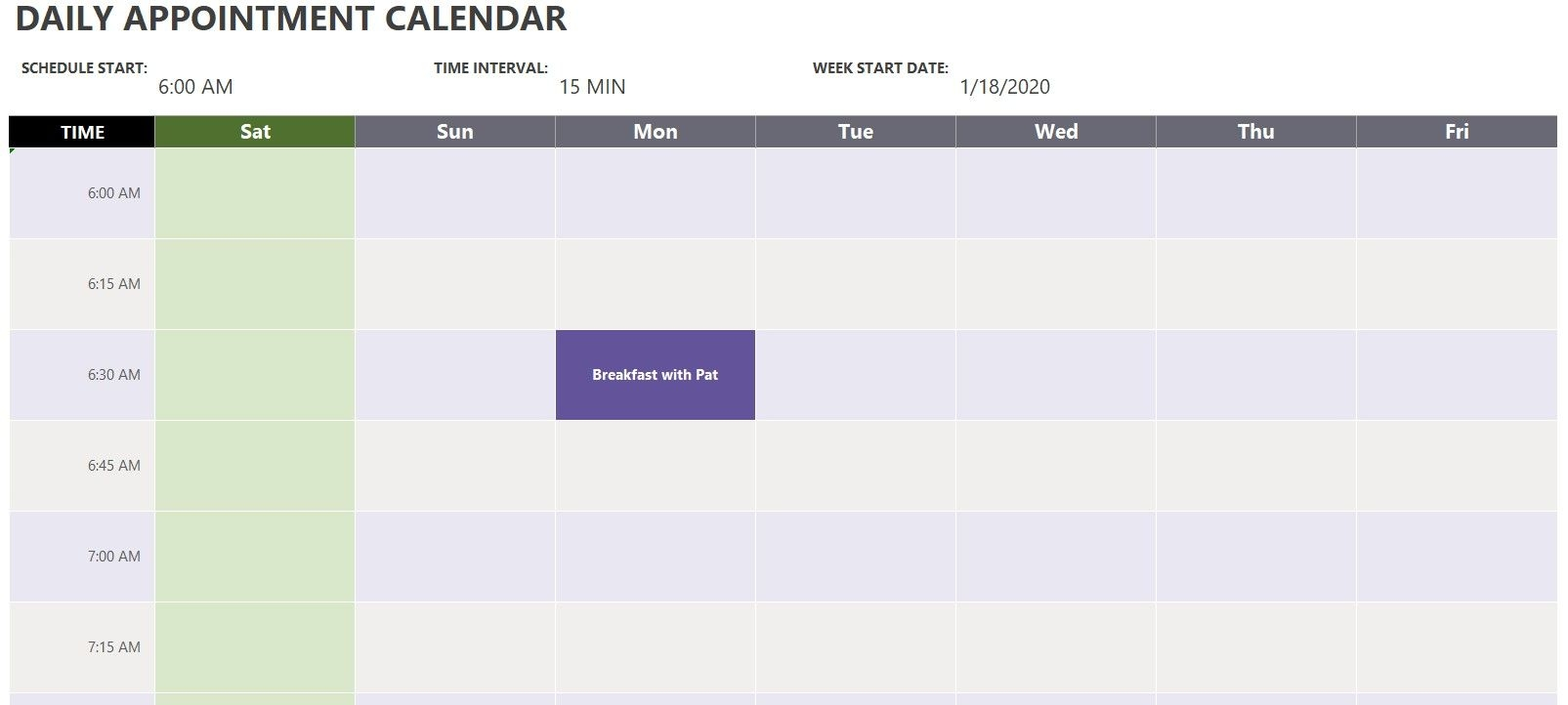 Daily Appointment Calendar Template | Exceltemplate