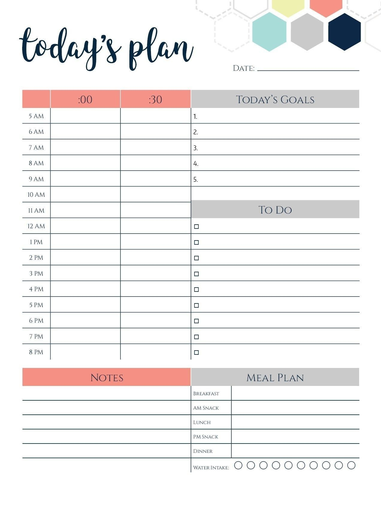 Daily Calendar Template 2018 Today's Plan | Daily Planner