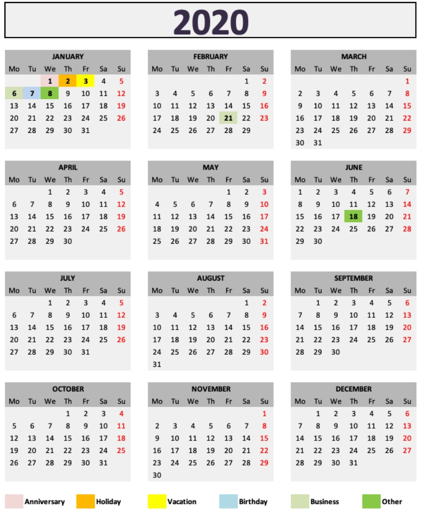 Daily Monthly Yearly Calendar Template