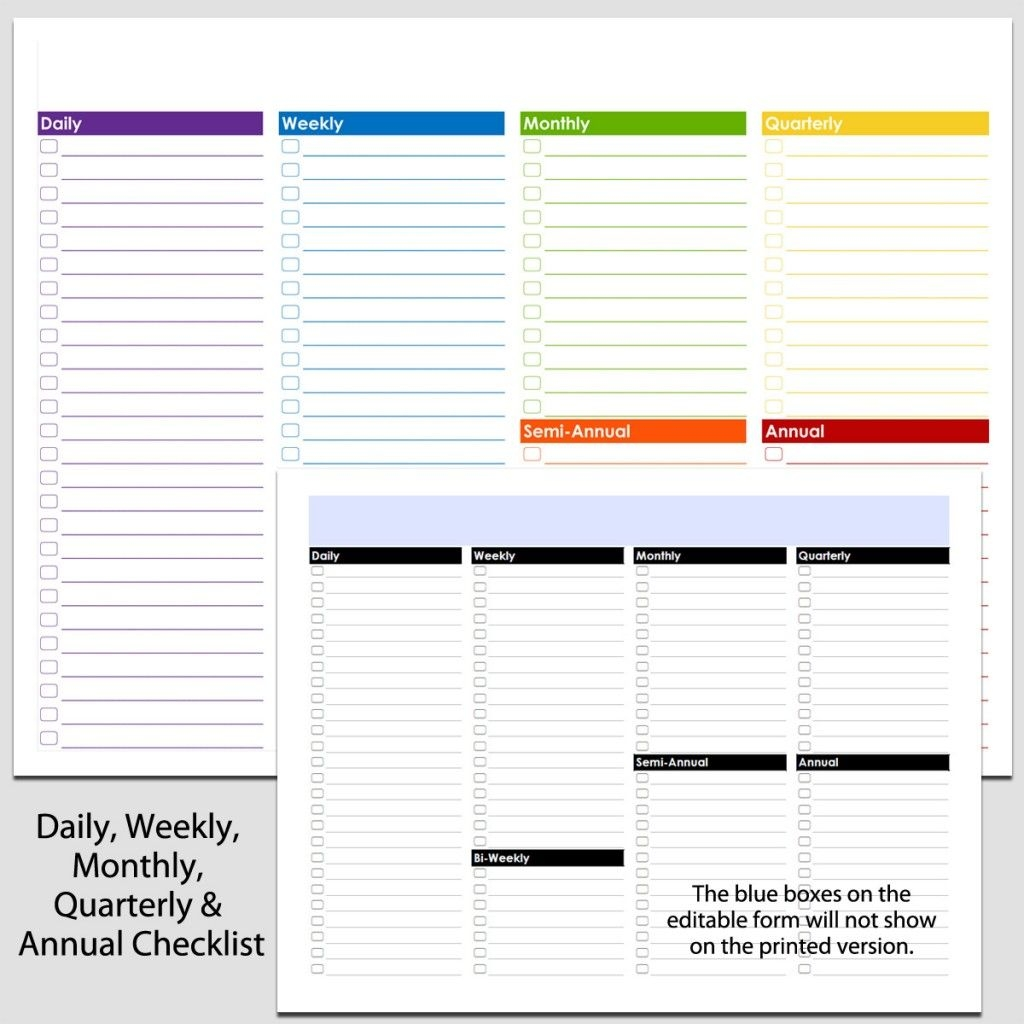 Daily, Weekly To Annual Checklist In Landscape 8 1/2″ X 11