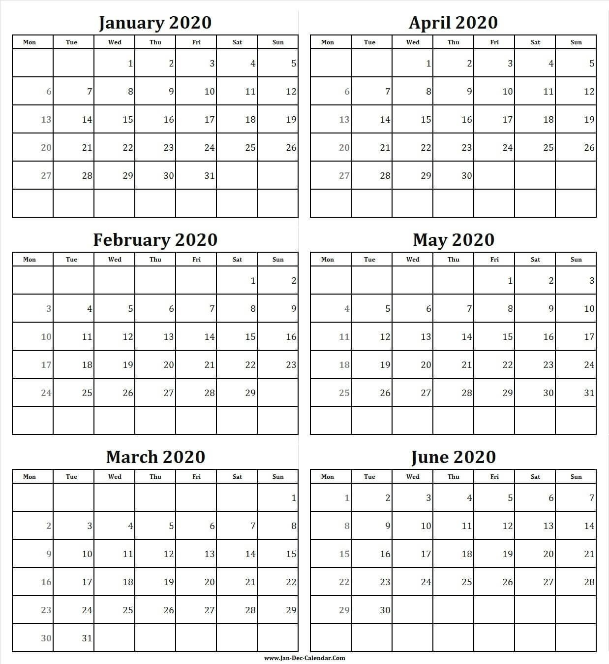 Dashing 6 Month Blank Calendar 2020 In 2020 | Calendar 2020