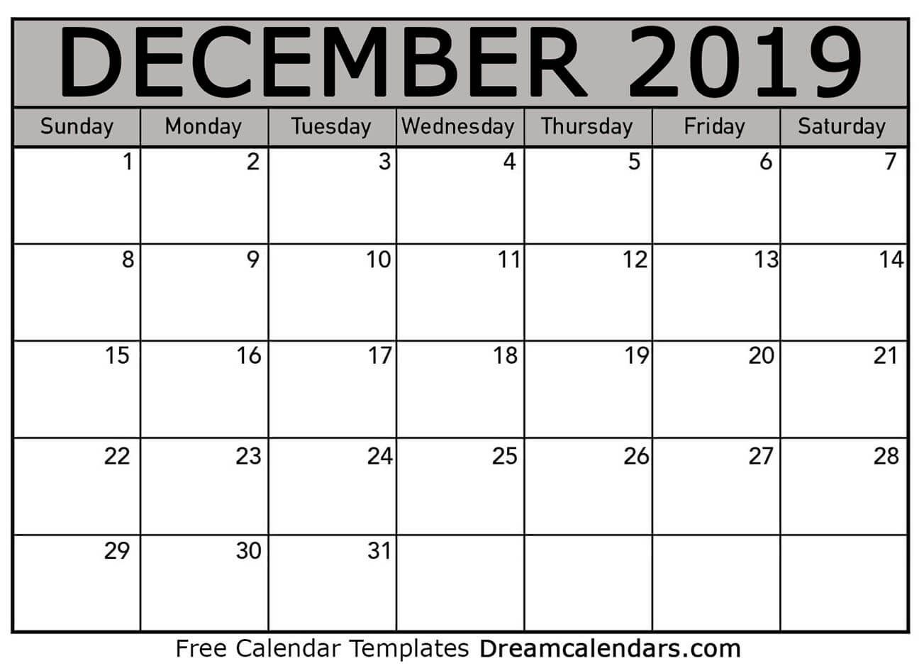 december 2019 calendar   free blank printable templates