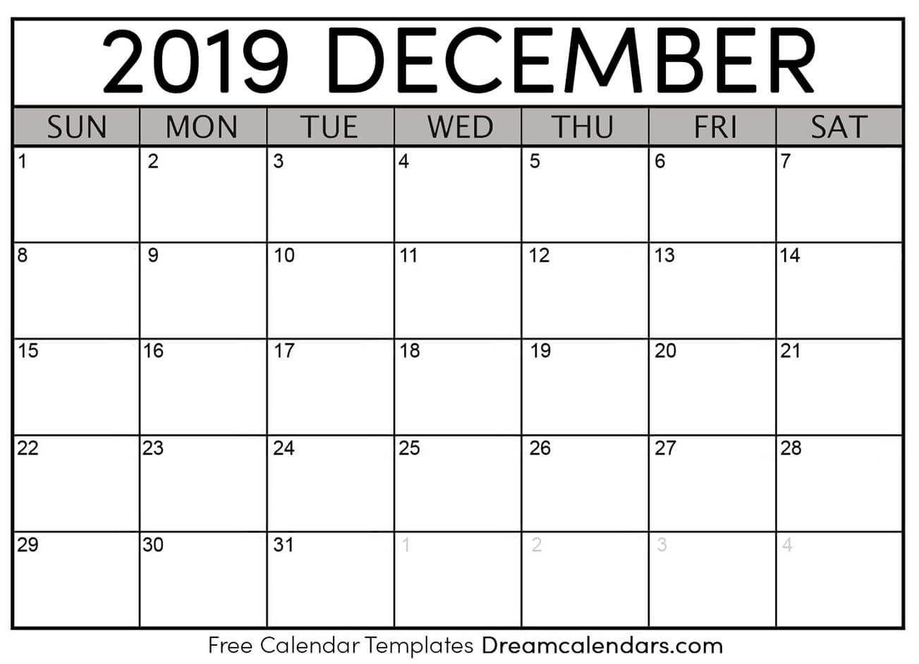 December 2019 Calendar | Free Blank Printable Templates