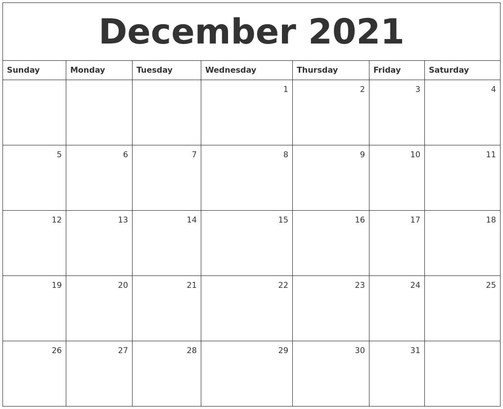 December 2021 Monthly Calendar
