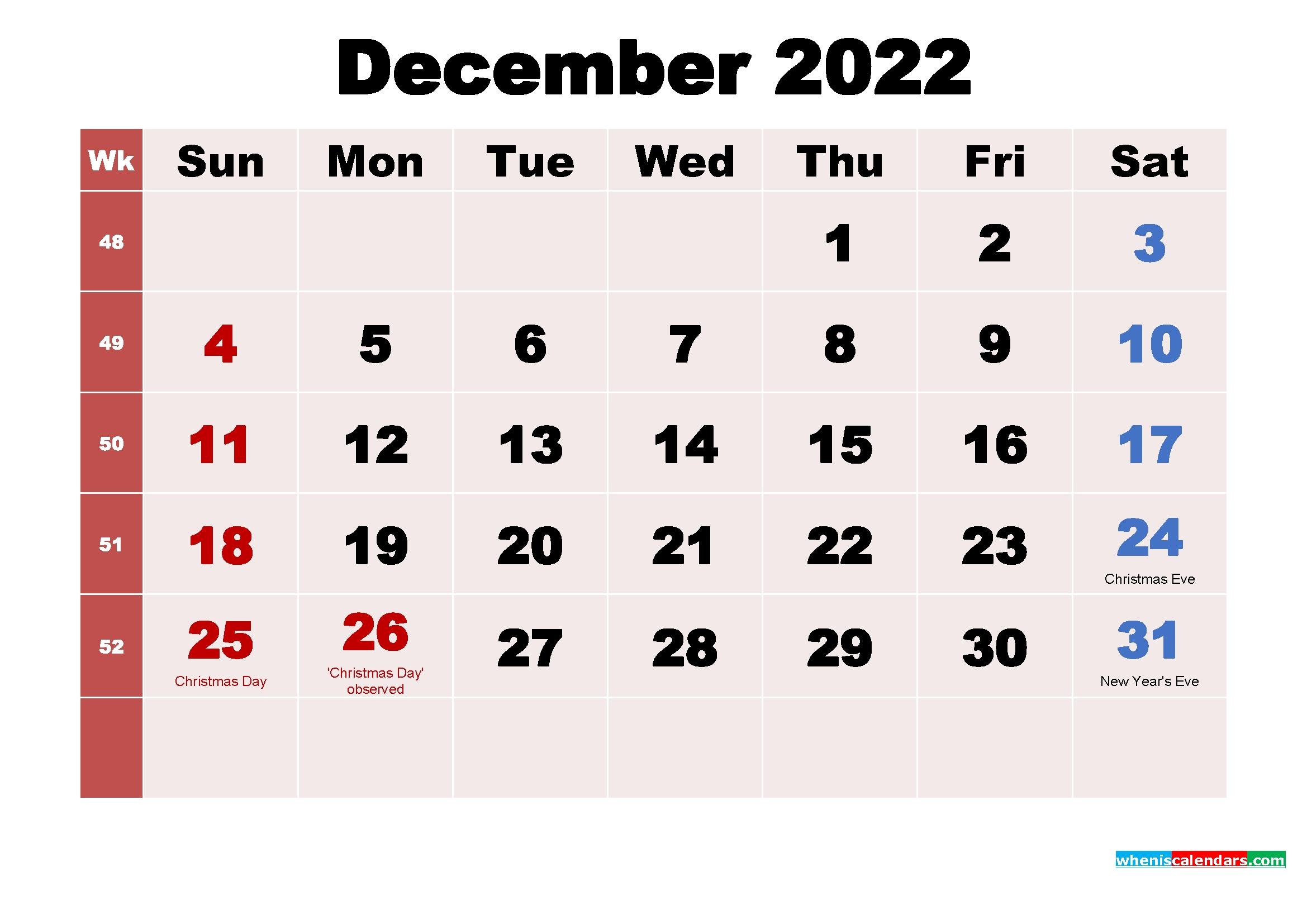 December 2022 Desktop Calendar Monthly | Free Printable 2020