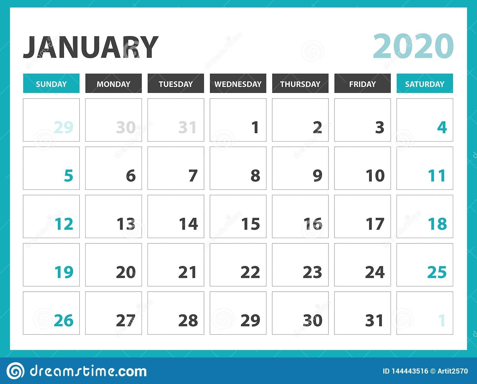 Desk Calendar Layout Size 8 X 6 Inch, January 2020 Calendar