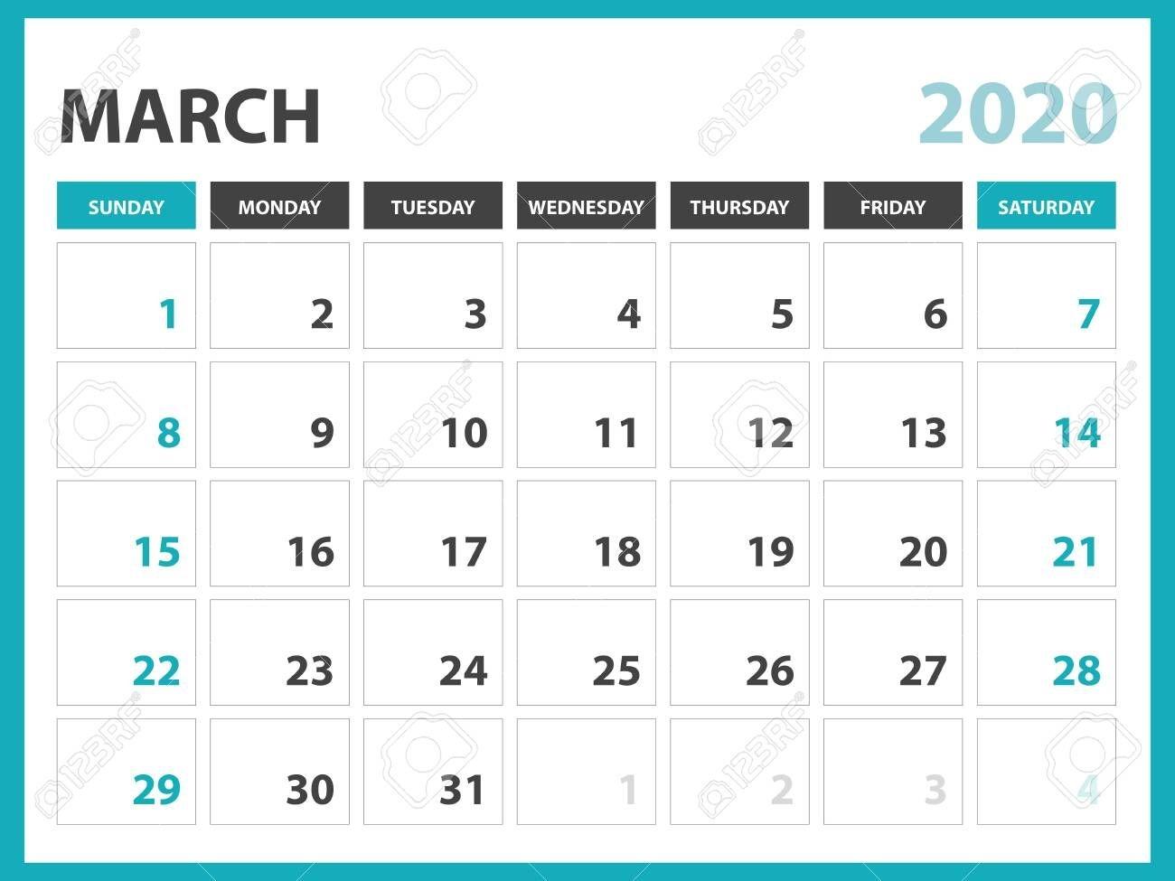 desk calendar layout size 8 x 6 inch, march 2020 calendar template,